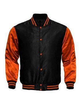 Kids Black And Orange Satin Varsity Jacket