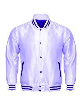 Kids White Satin Varsity Jacket