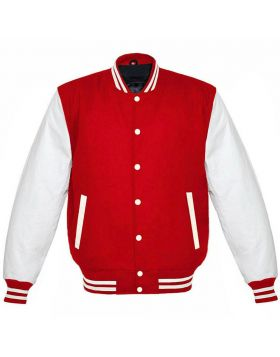 Red And White Varsity Jacket For Womens