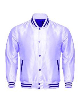 White Satin Varsity Jacket Women