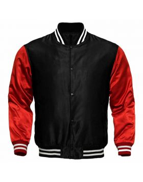 Women Black And Red Satin Varsity Jacket