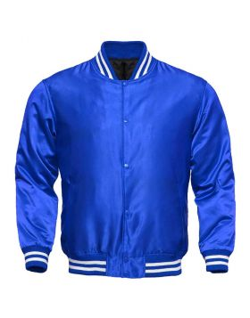 Women Blue Satin Varsity Jacket