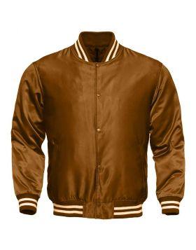 Women Brown Satin Varsity Jacket