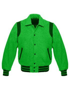 Women Green Retro Varsity Jacket