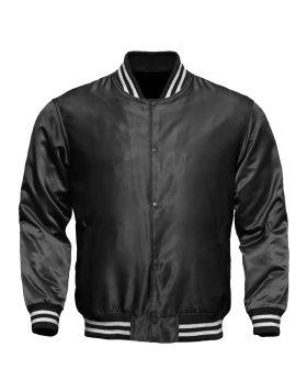 Women Grey Satin Varsity Jacket