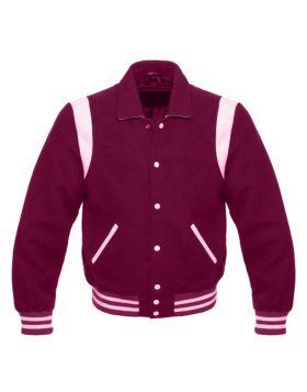 Women Maroon Retro Varsity Jacket