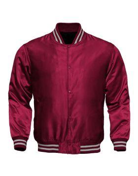 Women Maroon Satin Varsity Jacket
