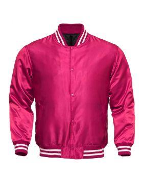Women Pink Satin Varsity Jacket