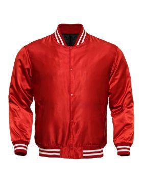 Women Red Satin Varsity Jacket