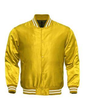 Women Yellow Satin Varsity Jacket