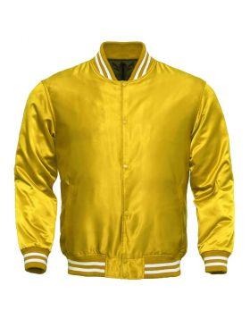 Yellow Satin Varsity Jacket