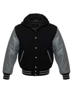 Black And Grey Hoodie Varsity Jacket