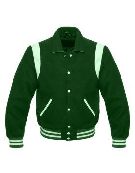 Green Retro Varsity Jacket Women