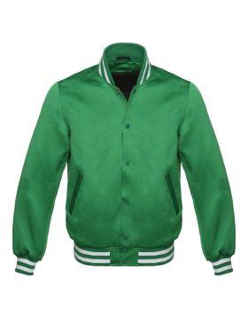 Green Satin Varsity Jacket