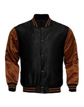 Kids Black And Brown Satin Varsity Jacket