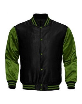 Kids Black And Green Satin Varsity Jacket