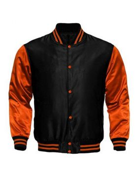 Kids Black And Orange Satin Varsity Jacket