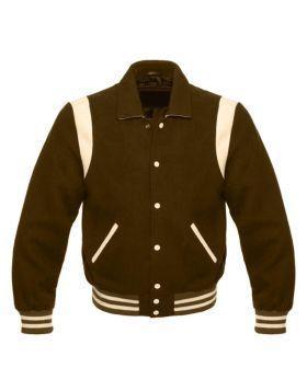 Kids Brown Retro Varsity Jacket