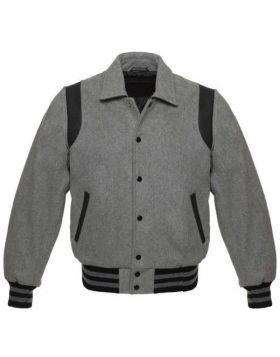 Kids Grey Retro Varsity Jacket