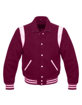 Kids Maroon Retro Varsity Jacket
