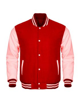 Red And Pink Varsity Jacket For Womens