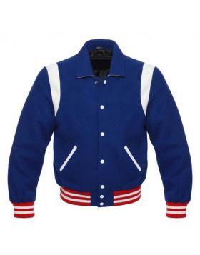 Women Blue Retro Varsity Jacket