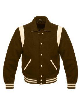 Women Brown Retro Varsity Jacket