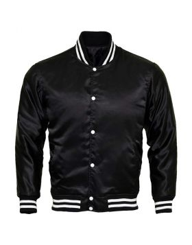 Women Satin Varsity Jacket Black