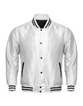 Women White Satin Varsity Jacket
