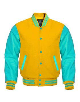 Yellow And Tiffany Blue Varsity Jacket